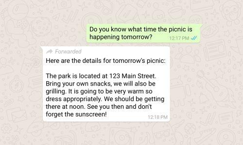 WhatsApp geeft het aan als je een doorgestuurd bericht ontvangt